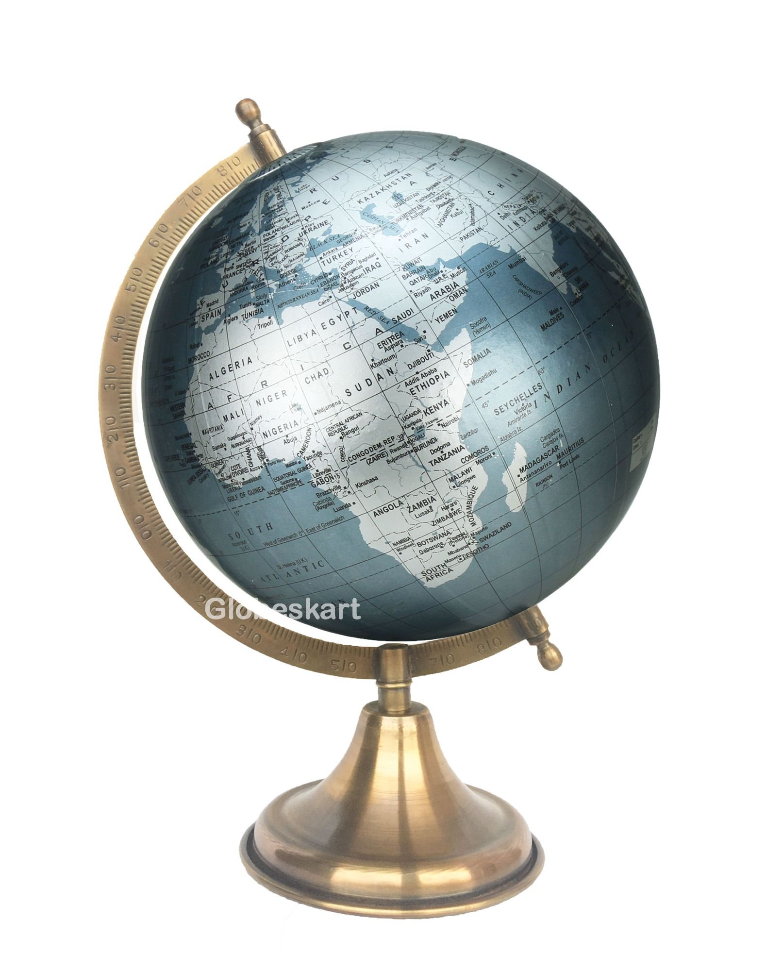 Globeskart Educational/Antique Globe with Brass Antique Arc and Base / World Globe / Home Decor / Office Decor / Gift Item / 8 inches (Surahi) (Marquise Silver) (B01MT6PLE2) Amazon Price History, Amazon Price Tracker