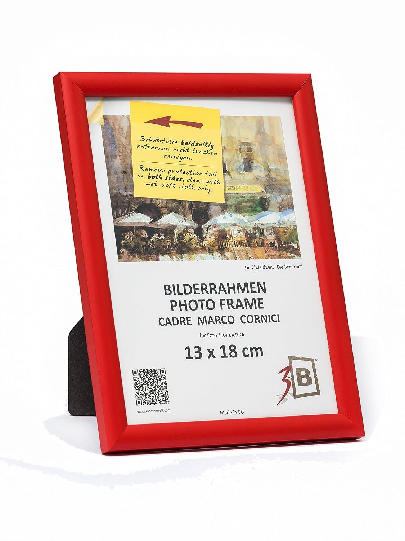 3-B Bilderrahmen ULM 13x18 cm - rot - Holzrahmen, Fotorahmen ...