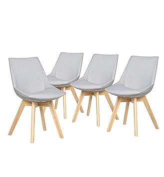 Bobochic U2013 Stranda U2013 4 Stühle Set, Skandinavisches Design U2013 Stoff Grau