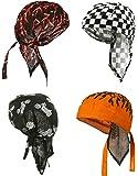 Doo Rag Pack of Motorcycle Skull Caps 4 Set Cotton Do rag Bandana Headwraps