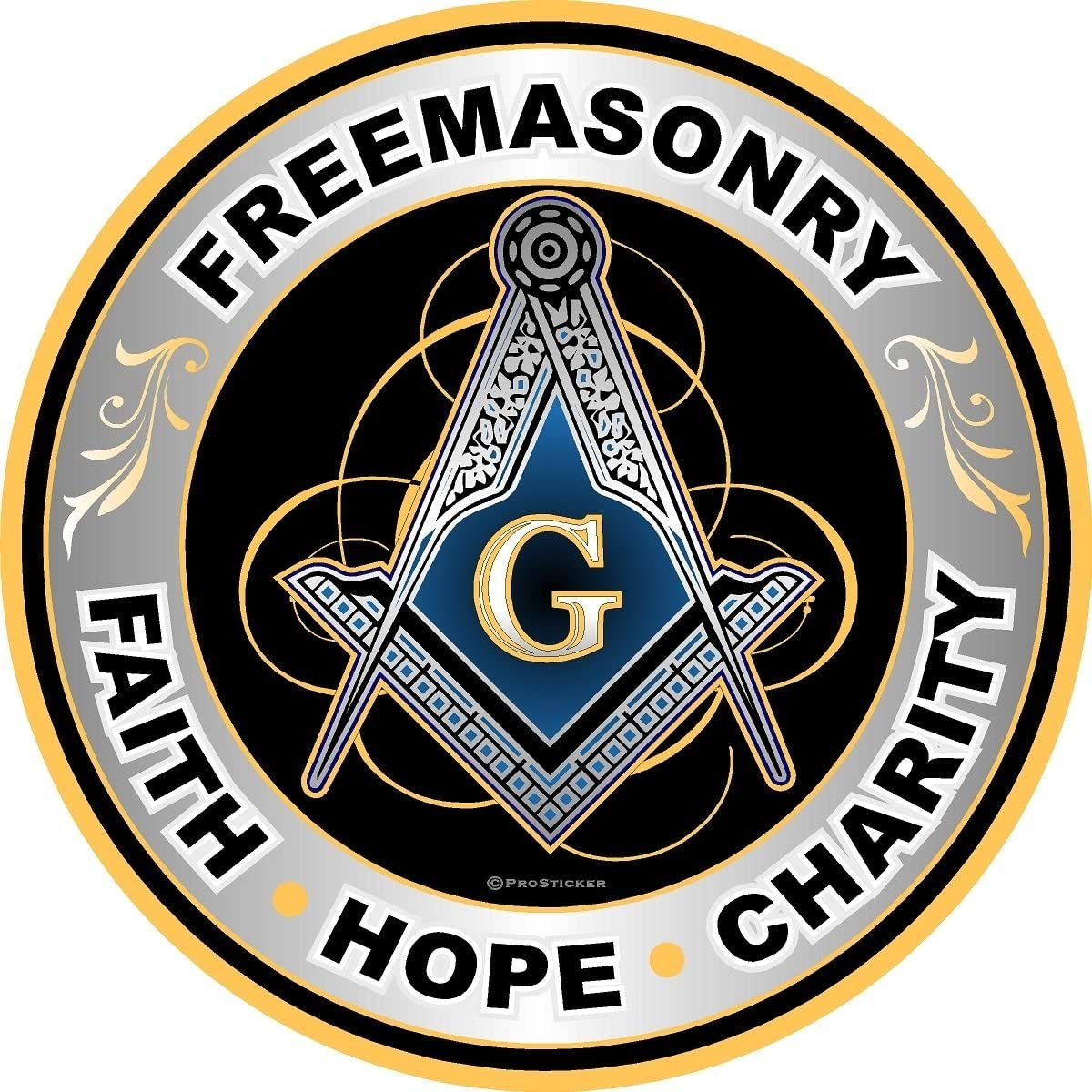 3 Masonic Series Freemason Compass Square Decal Sticker /… Four Pack ProSticker 0008