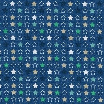 Tessuto Stampato Stelle Multicolori Blu Verde Beige E Bianco