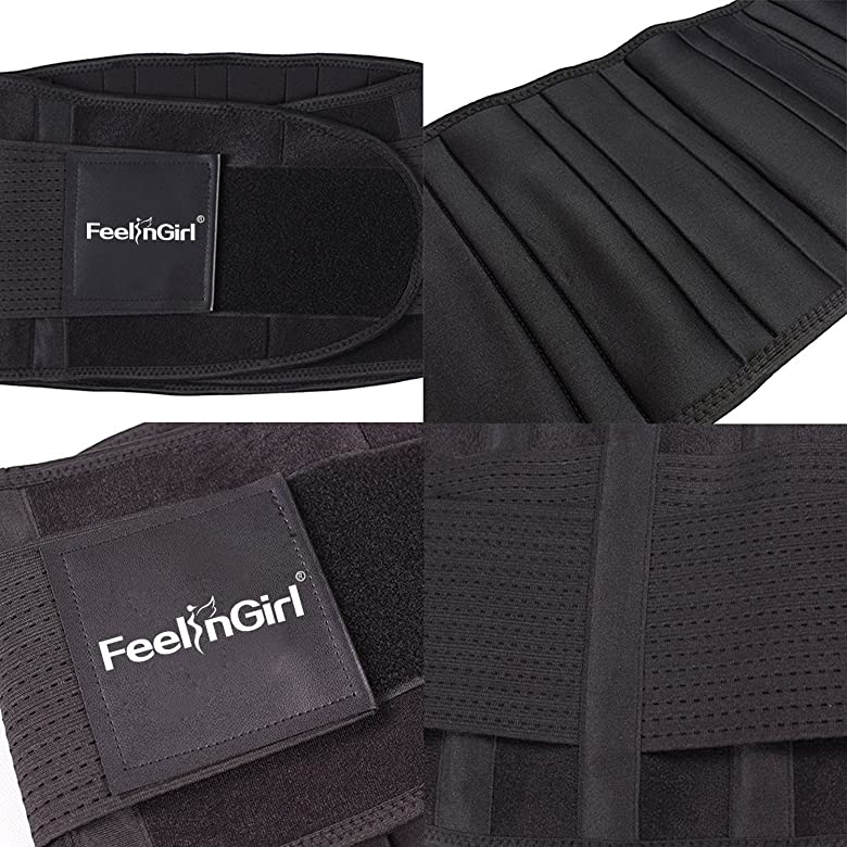 FeelinGirl Fit Waist Trimmer Tummy Belt Trim Curve Contour Belly Burner Size L Black