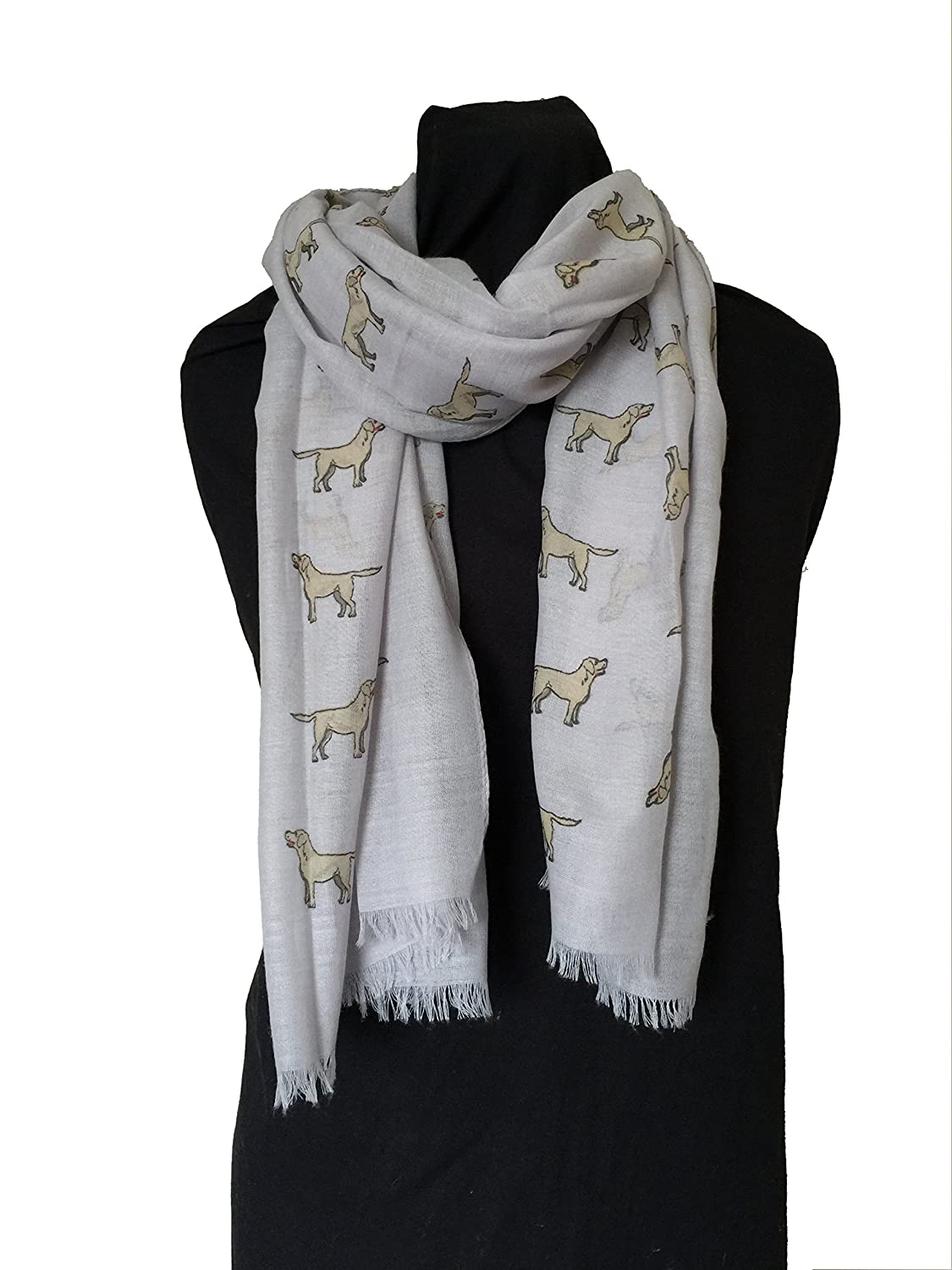 Pamper Yourself Now ltd Bufanda Gris con dise/ño Labrador y Borde Deshilachado Grey Labrador Design 2 Long Scarf with Frayed Edge.