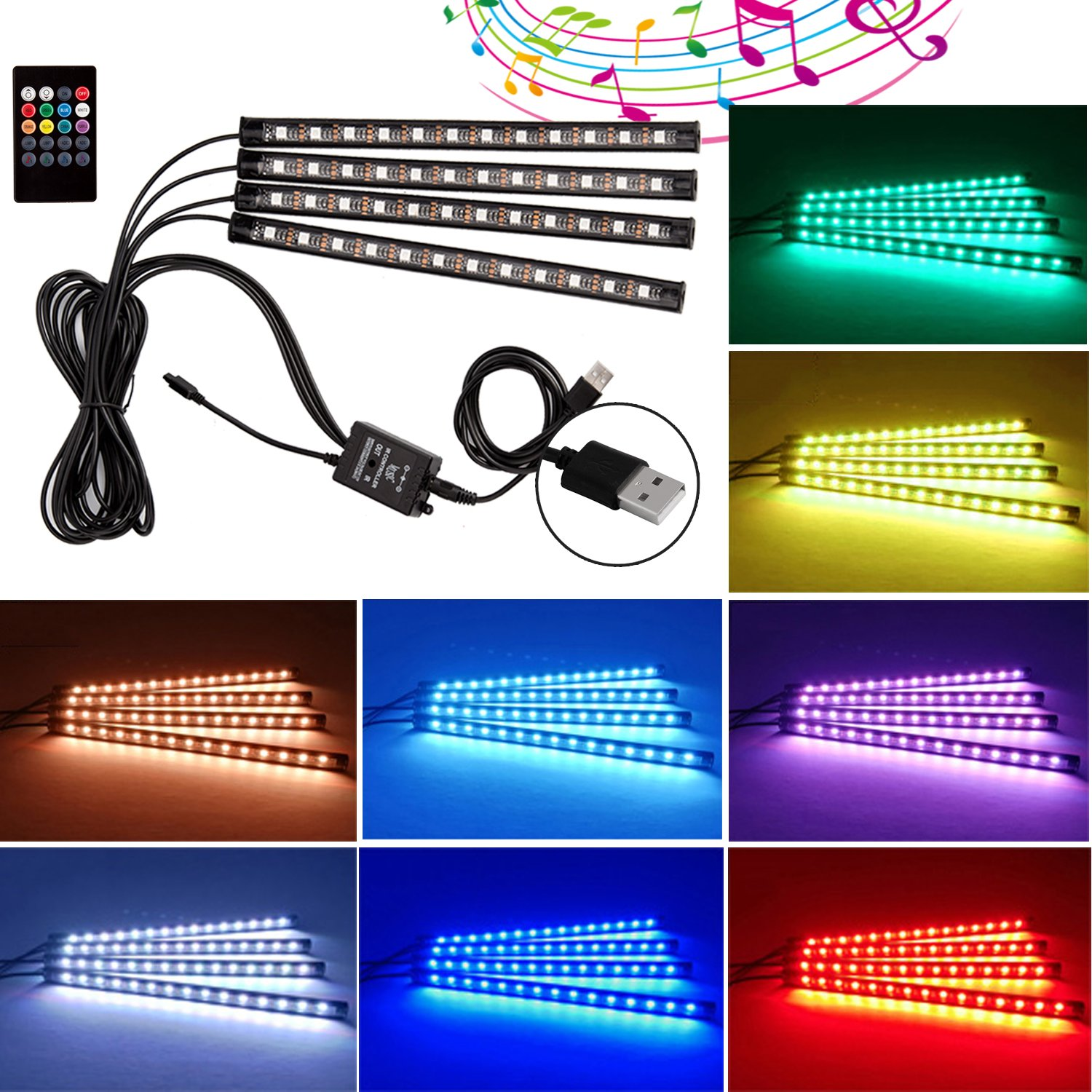 Car LED Strip Light,Savita Waterproof 4x12 LED Under Dash Lighting, Car Interior Multicolor Lights with Sound Active Function and Wireless Remote Control for Car Auto Decoration,DC 12V