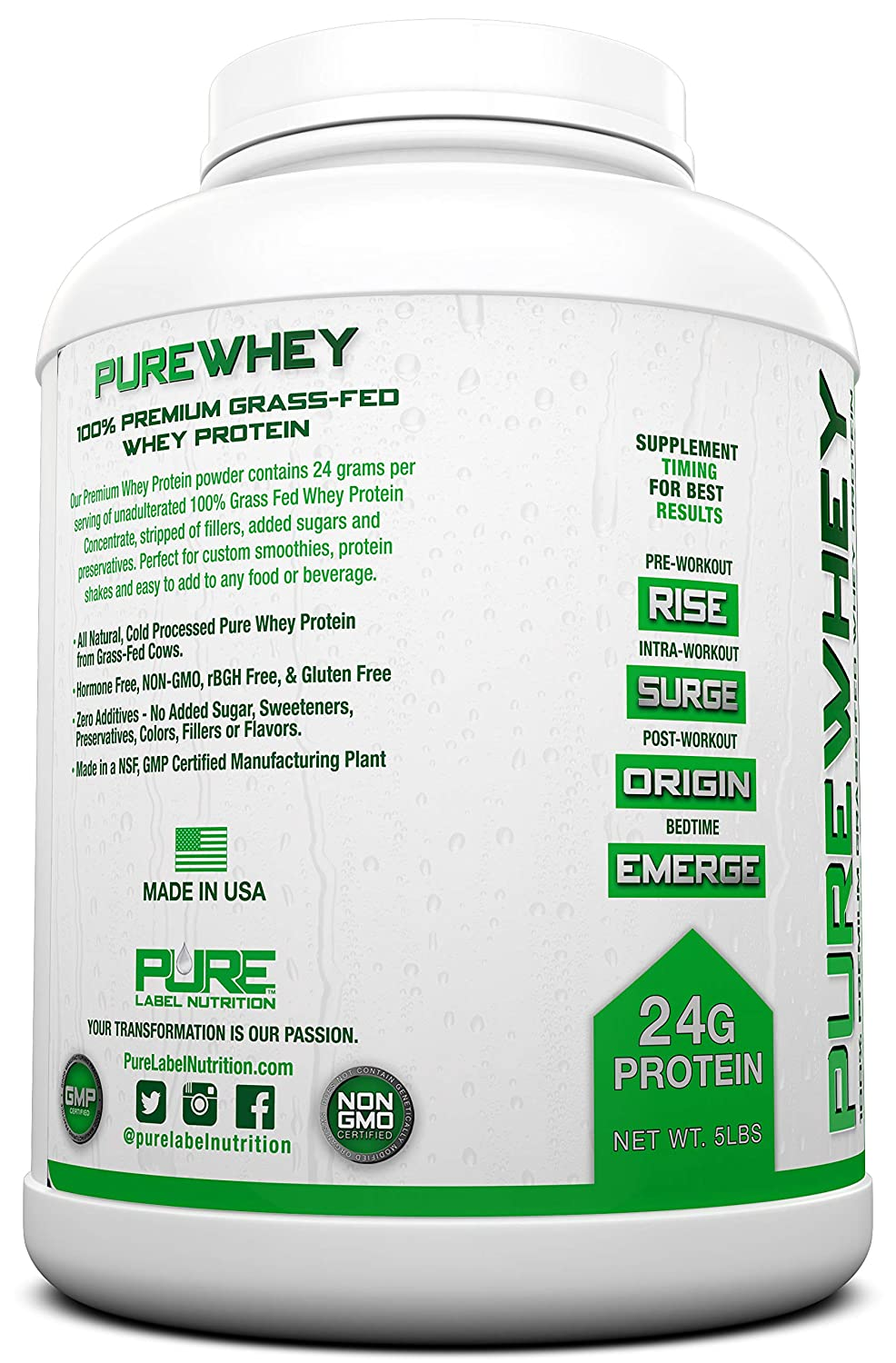 Pure whey protein without additives