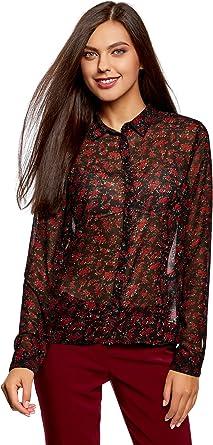 oodji Ultra Mujer Blusa de Gasa Estampada, Negro, ES 34 / XXS: Amazon.es: Ropa y accesorios
