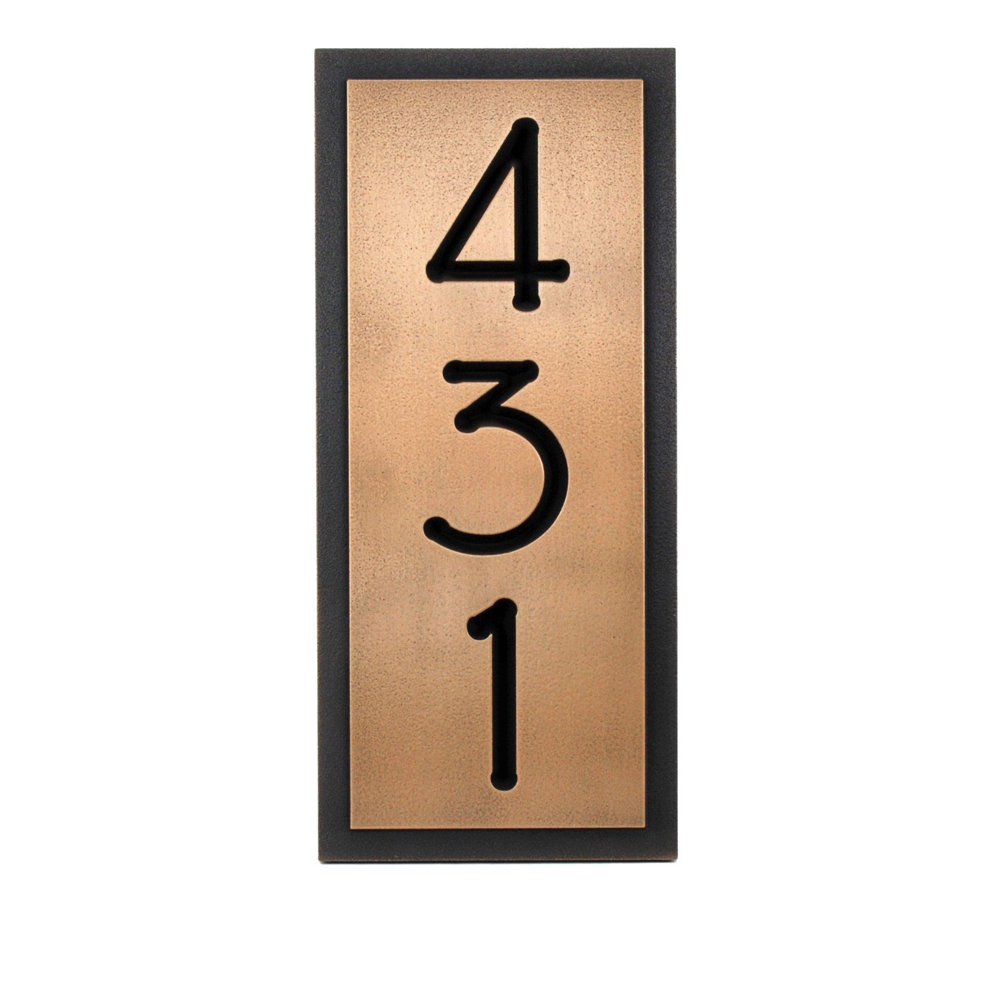 Prairie Style Vertical Home Numbers 3 Number 6.5x15 - Recessed Bronze Metal Coated by Atlas Signs and Plaques