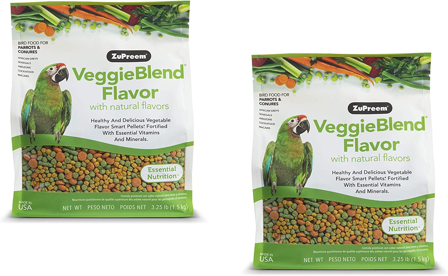 ZuPreem VeggieBlend Smart Pellets Bird Food for Parrots & Conures, 3 LB Bags (2-Pack) - Made in The USA, Daily Nutrition, Essential Vitamins, Minerals for African Greys, Amazons, Eclectus, Cockatoos