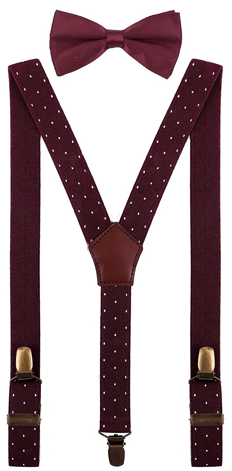 YJDS Boys Suspenders and Pre Tied Bow Ties Set Adjustable Strong Clips