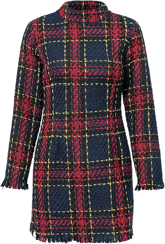 Elegant Plaid Tweed Women Winter Dress 2018 Long Sleeve Warm Tassel Short Christmas Dress Party,Plaid,XL