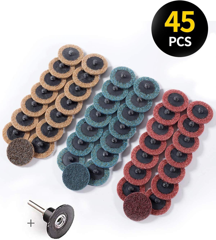 S SATC Roloc Sanding Discs Quick Change Discs 46 PCS Roloc Abrasive Sanding Discs 2 Inch Coarse/Medium/Fine Surface Conditioning Discs with Roloc Disc Pad Holder