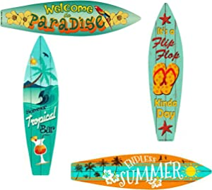 Bundle: Home Decor Metal Surfboard Beach Signs - Welcome To Paradise Sign, Endless Summer Sign, Tropical Bar Sign and Flip Flop Sign