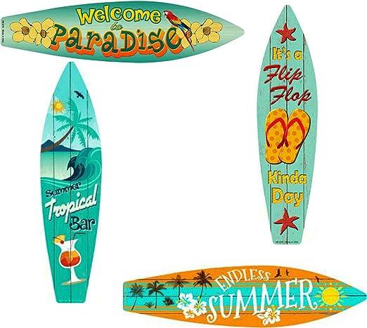 """Outdoor//Indoor It/'s A Flip Flop Kinda Day Metal Surfboard Sign 17/"""" x 4.5/"""""""