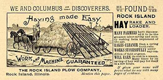 amazon com 1893 ad rock island horse plow hay rake loader farming