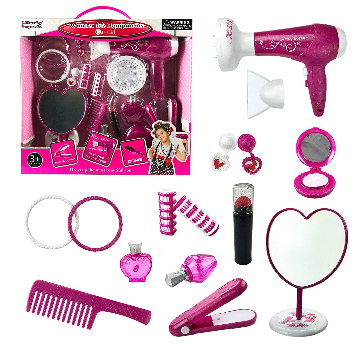 Liberty Imports Fashion Studio Cute Girls Beauty Salon Play Set with Hairdryer, Curling Iron, Mirror and Styling Accessories by Liberty Imports