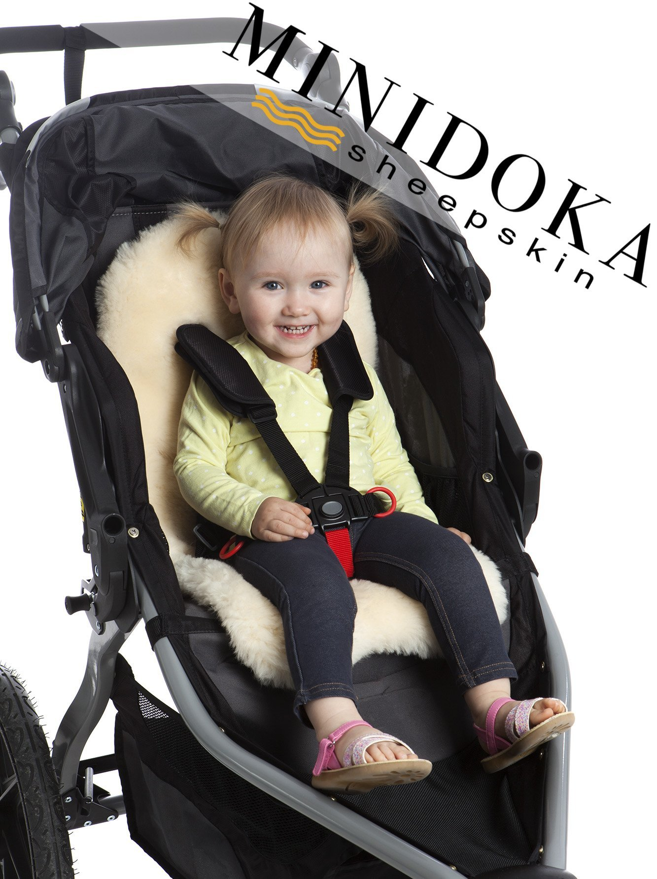 Genuine Lambskin Stroller Liner, Seat Cover, Naturally Breathable, Year Round Comfort, Universal Fit, by Minidoka Sheepskin by Desert Breeze Distributing