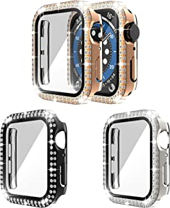 [3-Pack] RICHONE Bling Case Compatible with Apple Watch Series 3 2 1 42mm, Double Row Diamonds Cover with 3D Tempered Glass Screen Protector Bumper (Black+Silver+Rose Gold, 42mm)