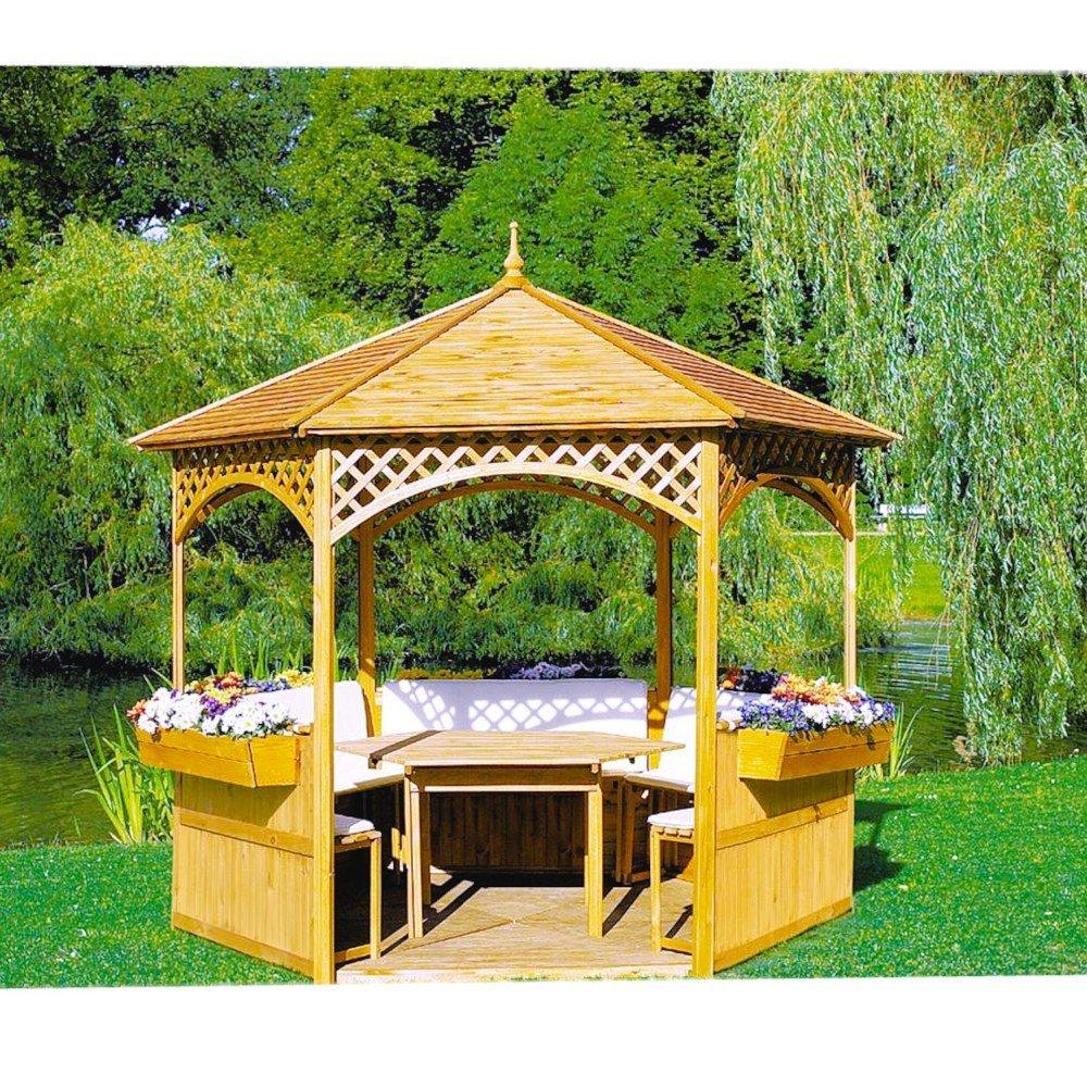 Pavillon Palma mit Holzdach mit oder ohne Möbel Holzpavillon, Ausstattung:ohne Möbel