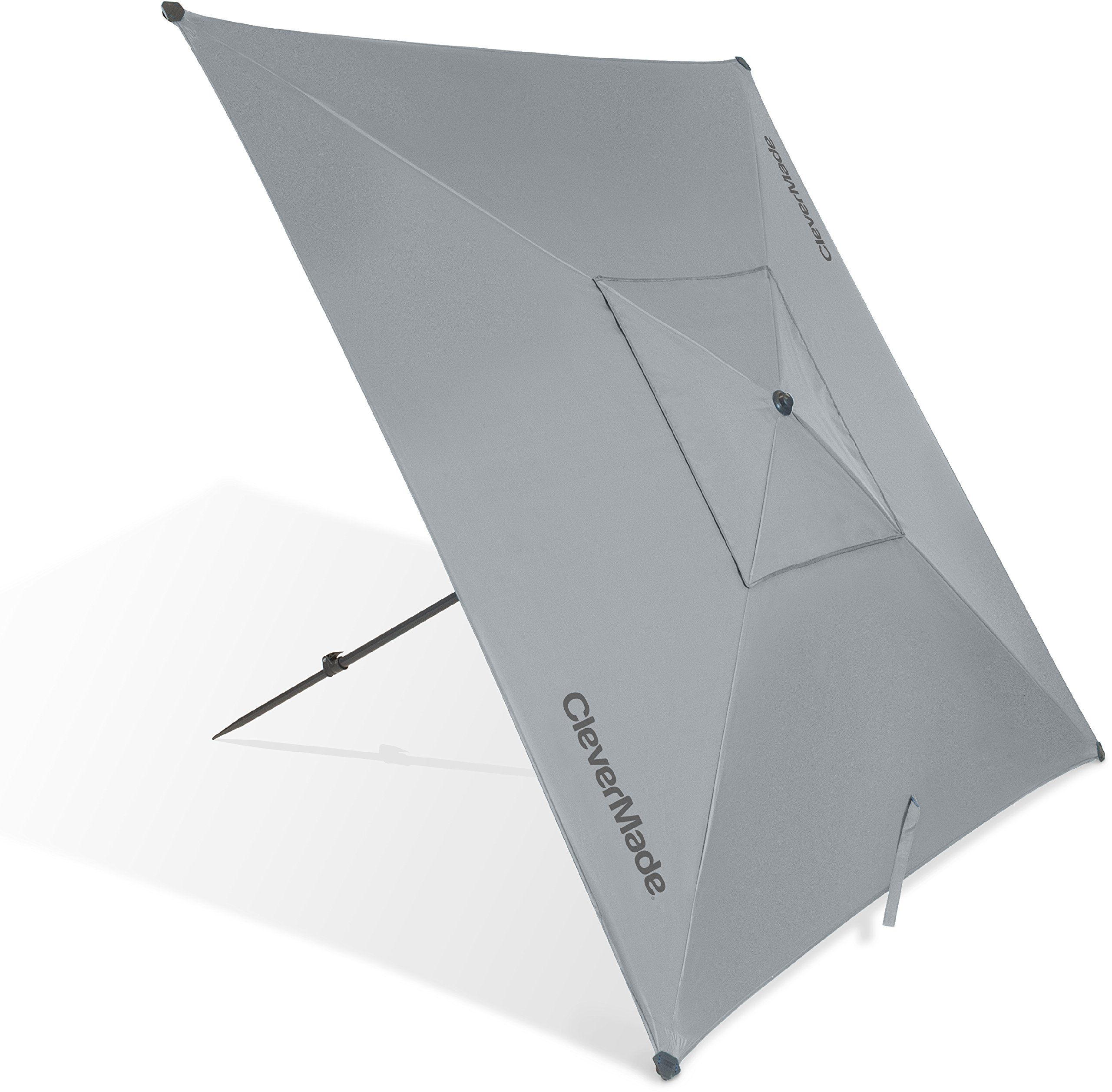 CleverMade QuadraBrella - Portable 5' UPF 50 Outdoor Beach Umbrella for Sun Shade - Includes Pivot Hammer, Tie Down Cords, and Ground Stakes, Grey