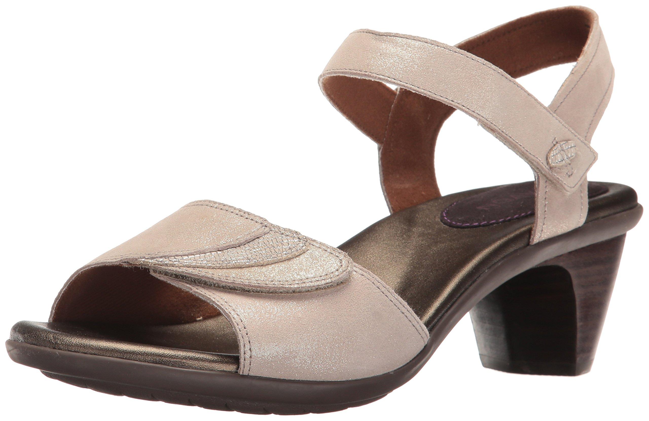 Aravon Women's Medici Heeled Sandal, Metallic, 10 B US