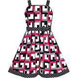 Sunny Fashion Girls Dress Heart Print Pink Children Clothes Size 4-12 Years