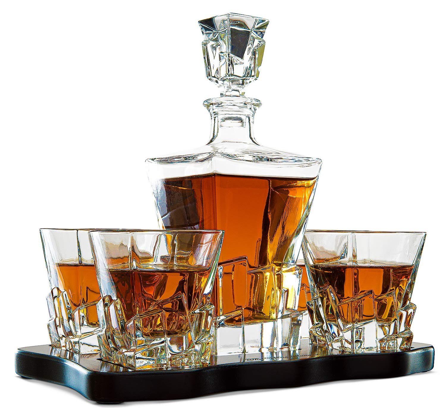 The Wine Savant Wine and Whiskey Iceberg Decanter with 4 Glasses and Wood Tray by The Wine Savant