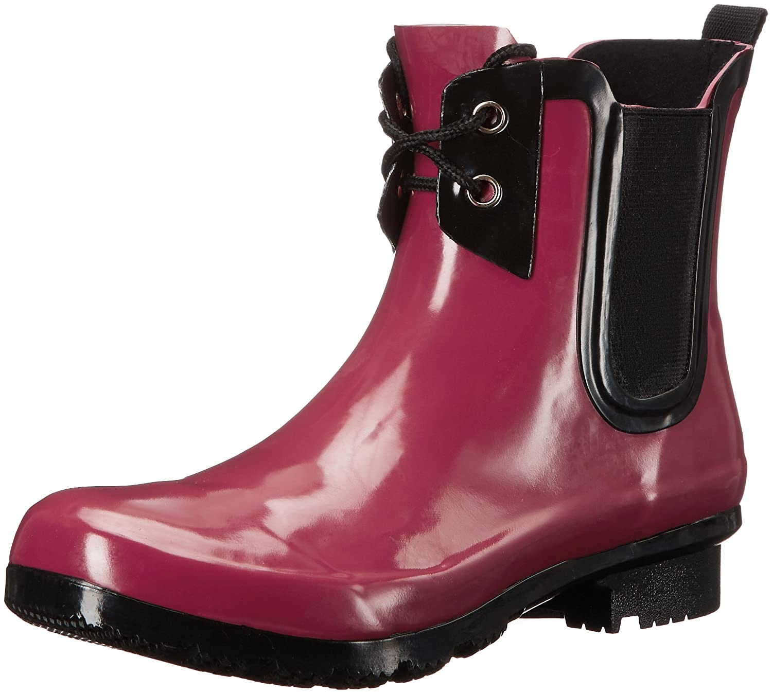 Roma Boots Women's Chelsea Lace-up Rain Boots B01L2WON0C 9 B(M) US|Claret Lace