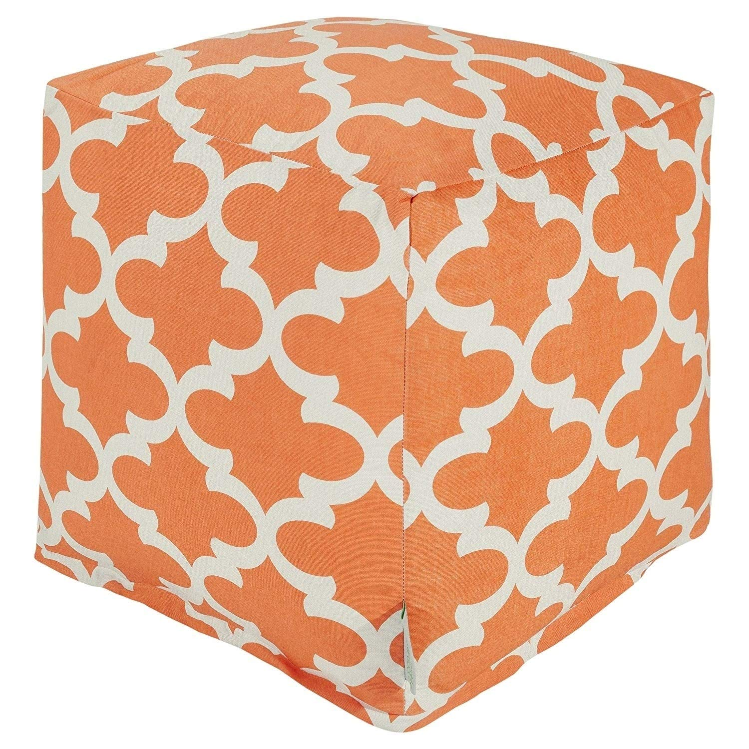 Majestic Home Goods Peach Trellis Indoor/Outdoor Bean Bag Ottoman Pouf Cube 17'' L x 17'' W x 17'' H by Majestic Home Goods