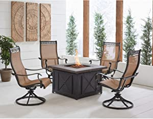 Hanover MON5PCSW4DFP Monaco 5-Piece Fire Pit Chat Set Outdoor Furniture, Tan