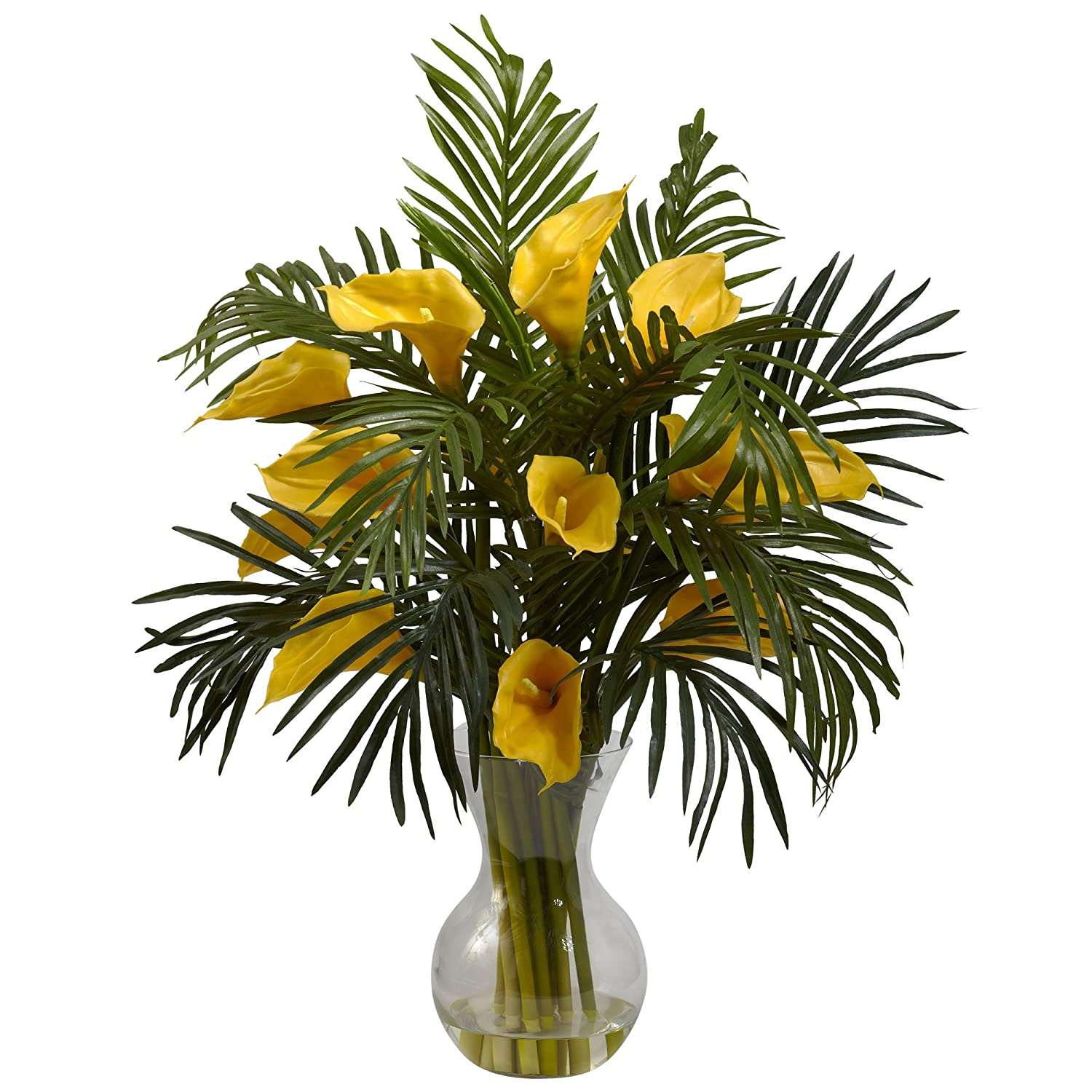 Nearly Natural 1301-YL Calla Lily and Palm Combo Plant, Yellow