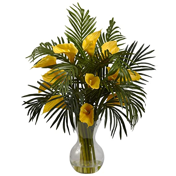 Amazon nearly natural 1301 yl calla lily and palm combo plant amazon nearly natural 1301 yl calla lily and palm combo plant yellow home kitchen mightylinksfo