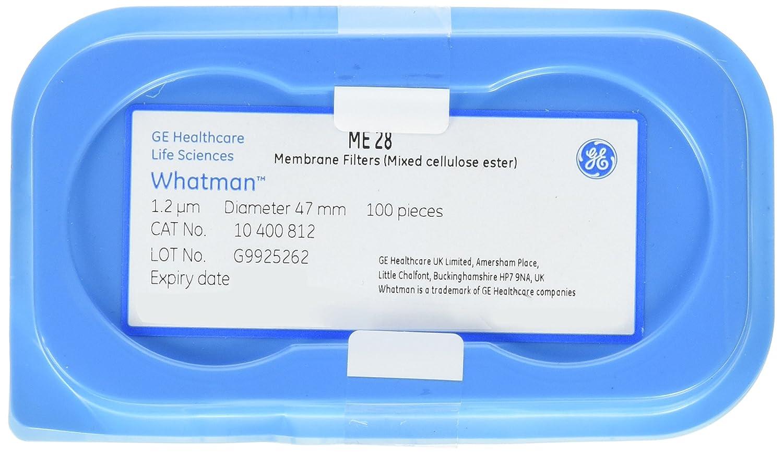 47mm Diameter GE Whatman 10400812 Mixed Cellulose Ester Membrane 1.2/µm Pore Size Plain GE Healthcare Life Sciences Non Sterile Circle Pack of 100 ME 28 Range