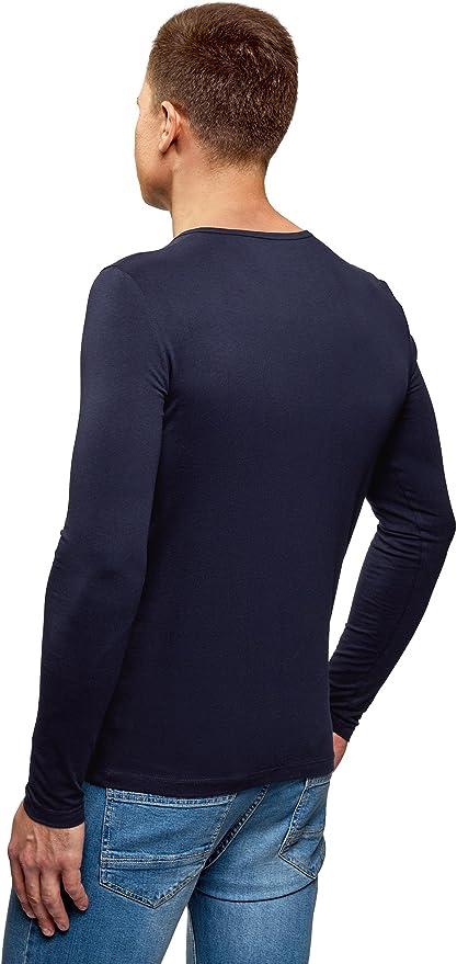 oodji Ultra Hombre Camiseta Henley de Manga Larga