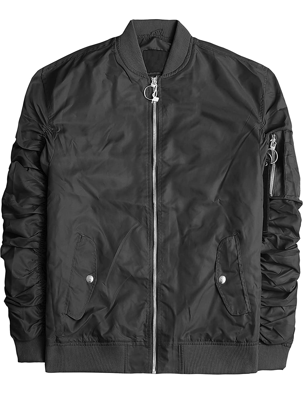 6688e485634 ... Mens Ruched Bomber Jacket Waterproof Lightweight Sleeve Zip up  Windbreaker. Wholesale Price 24.96 -  34.96. Gathered ruched sleeves design.