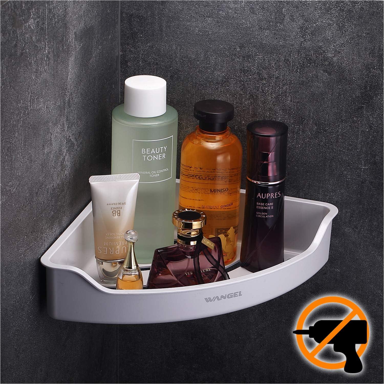 Wangel Estantería de Esquina para Baño,Organizador Estantes Cesta para Ducha, Baldas de Baño,Transparente Adhesivos, Sin Taladro, Plástico ABS
