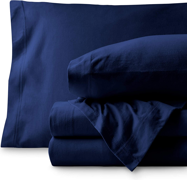 Bare Home Jersey Sheet Set, Ultra Soft, 100% Cotton - Breathable - Deep Pocket (Split King, Dark Blue)