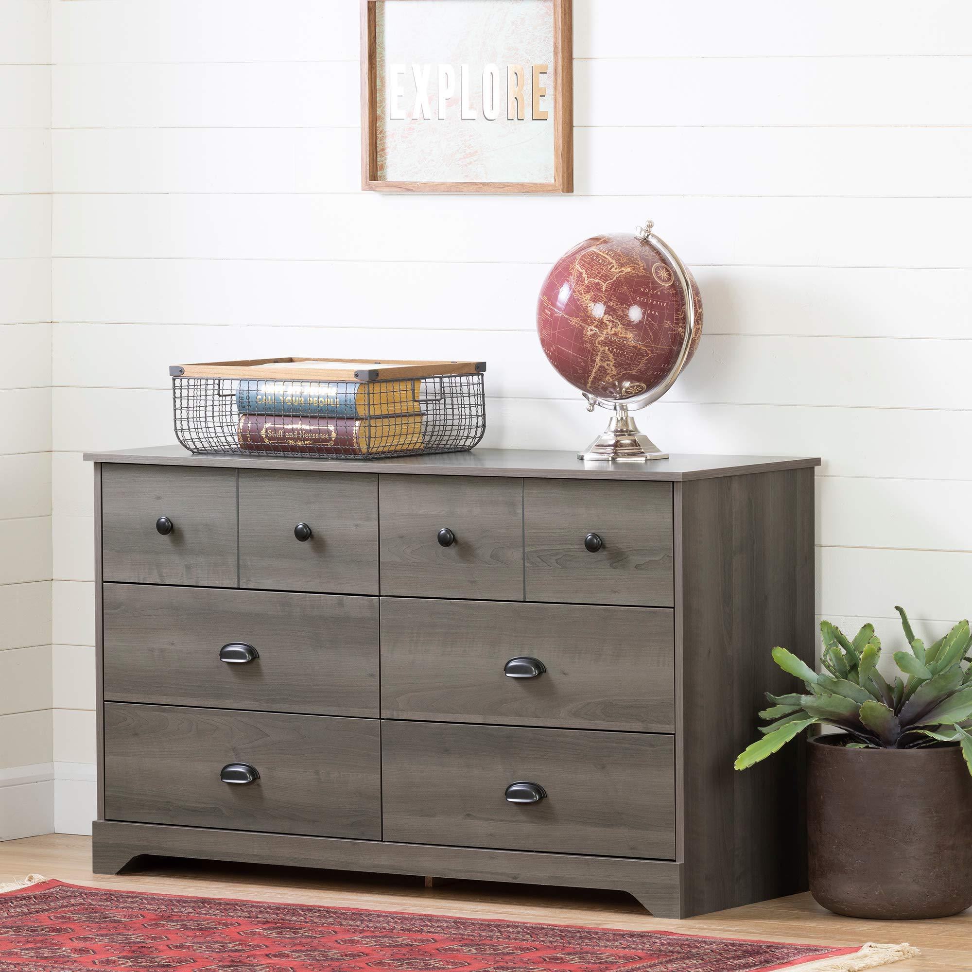 South Shore 12387 Volken 6-Drawer Double Dresser-Gray Maple