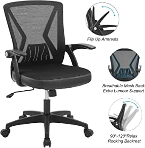 ZLHECTO Ergonomic Office Chair, Mid Back Desk Chairs with Flip Up Armrests and Lumbar Support,Weight Hold Up to 250Ibs - Adjustable Height Mesh Computer Chair for Conference Room