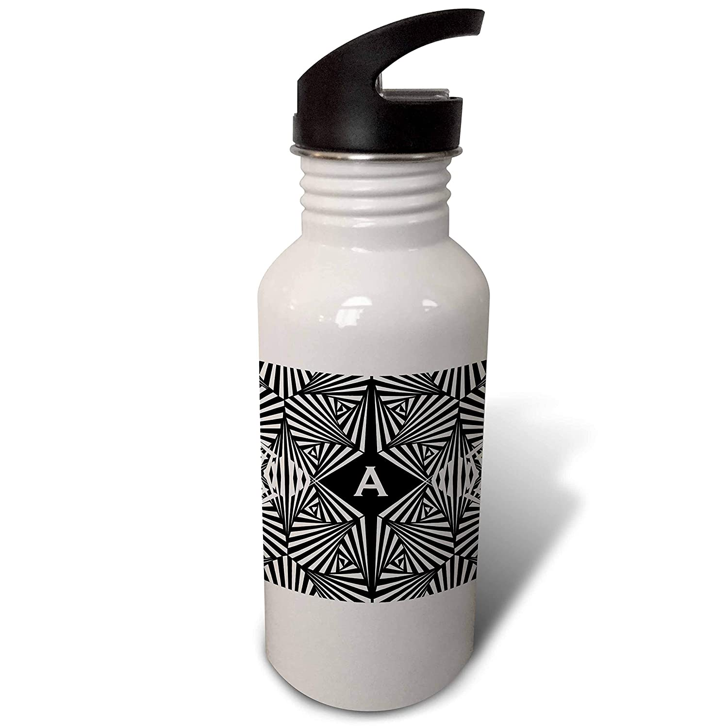 Letter A Black And White Geometric Monogram Flip Straw 21oz Water Bottle Wb 300073 2 3drose Russ Billington Monograms Geometric Letter A