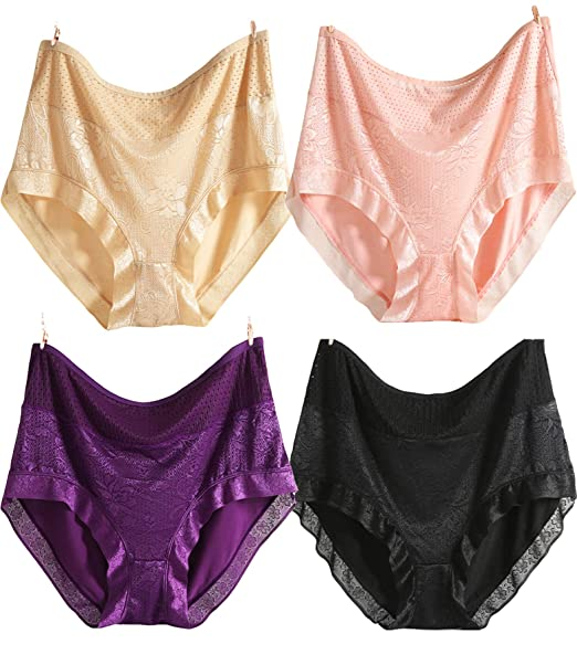 2185265fbfb Plus Size Underwear for Women Sexy High Waist Hipster Panties Cotton Silky  Full Brief- 11