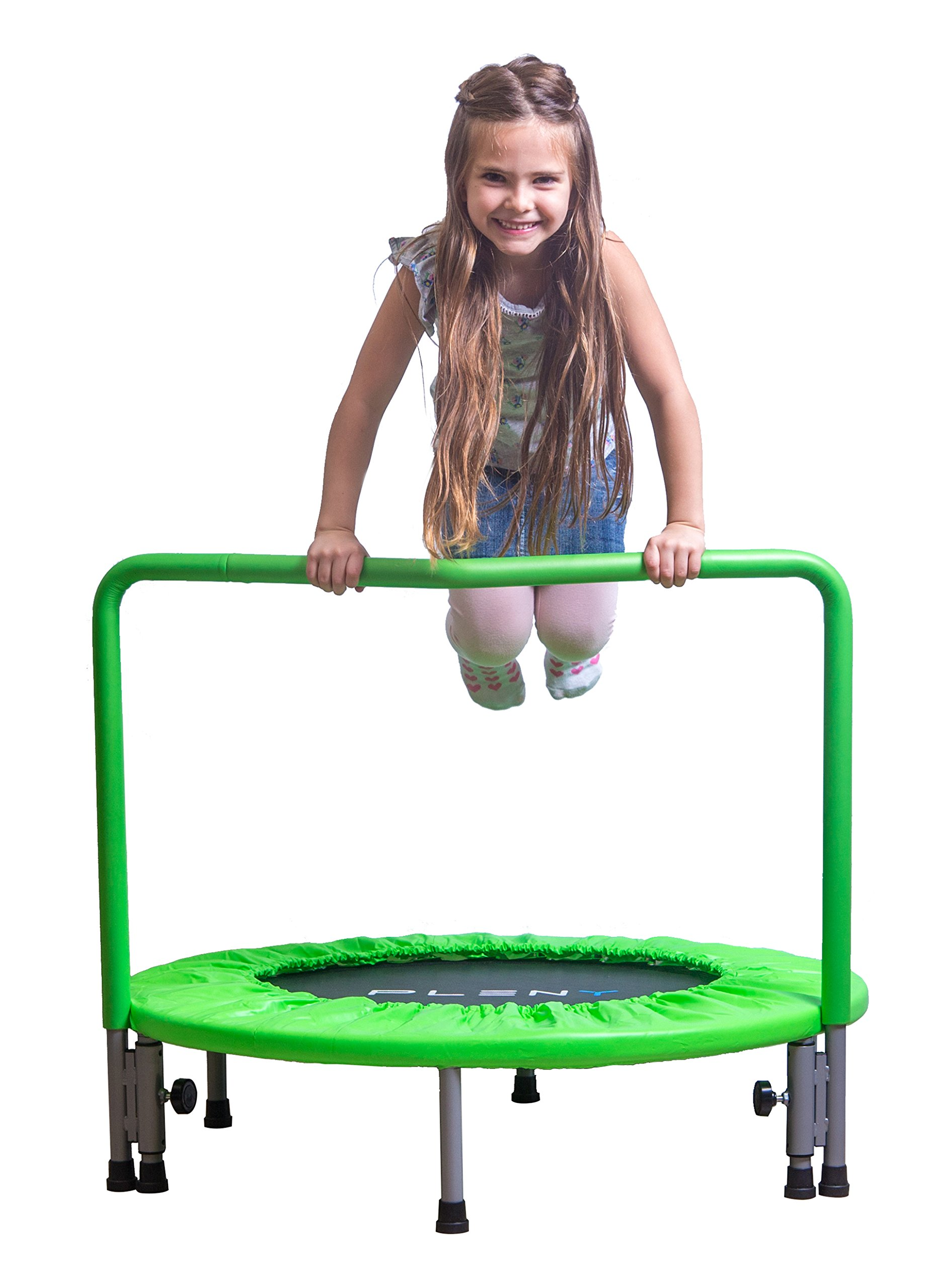 PLENY 36 inches Trampoline Handle Toddlers, Safety Kids Mini Trampoline (Apple Green)