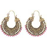 Oxodised Pink Stone Brass With Droplets Chand Bali Type Earring for Women
