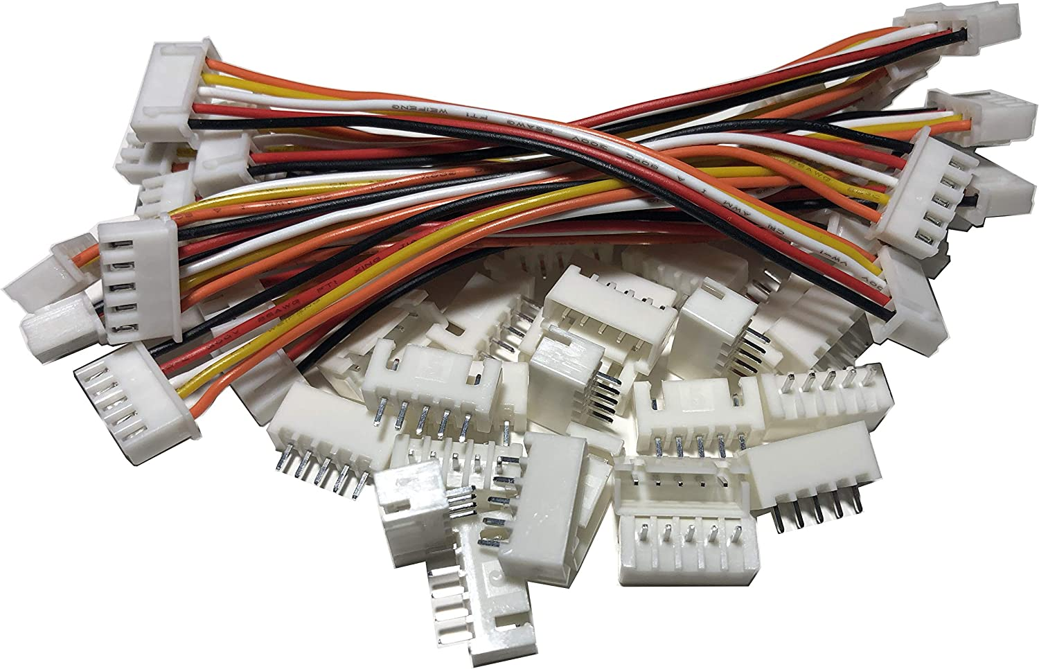 LATTECH 10 Sets JST XH 2.54MM 6 Pin Female /& Female Double Connector with Flat Cable 200MM