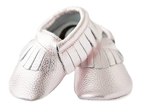 96520e634929 MoonBaby Organics Soft Sole Rose Gold Leather Baby Moccasins (3-6 Months)
