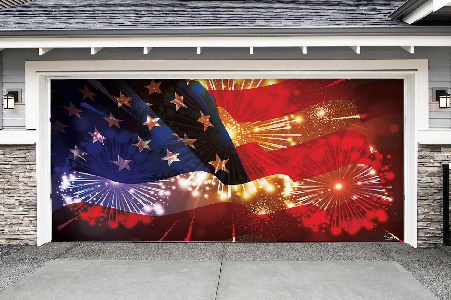 Outdoor Patriotic American Holiday Garage Door Banner Cover Mural Décoration 7'x16' - American Flag and Fireworks - Outdoor Patriotic Garage Door Banner Décor Sign 7'x16' by Victory Corps