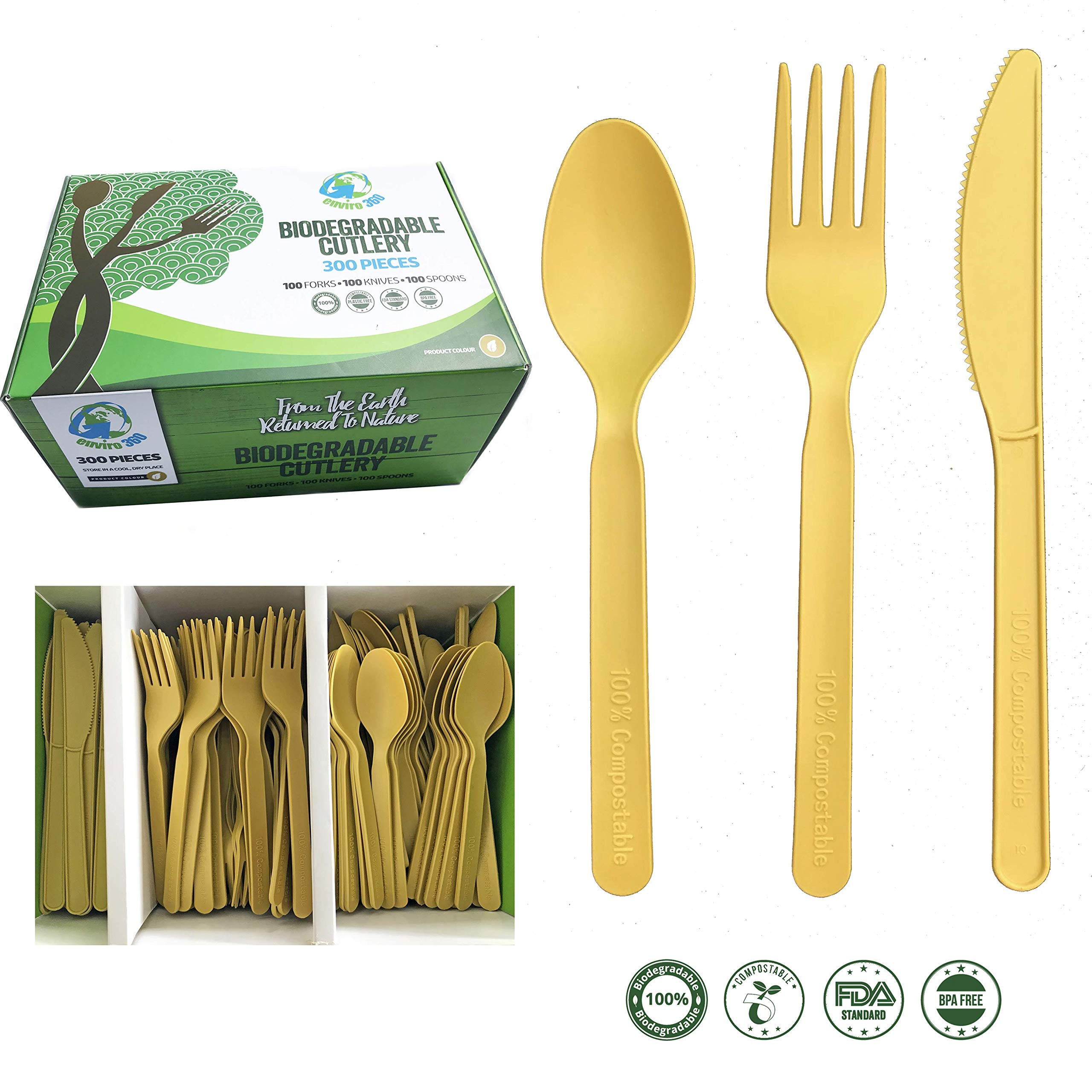Compostable Biodegradable Disposable Cutlery Utensils Combo Set 300 Pieces 100 Forks 100 Knives & 100 Spoons Matte Gold Sturdy Durable Heat Resistant 100% Plastic-Free (7 inches) by Enviro 360 by Enviro Cutlery