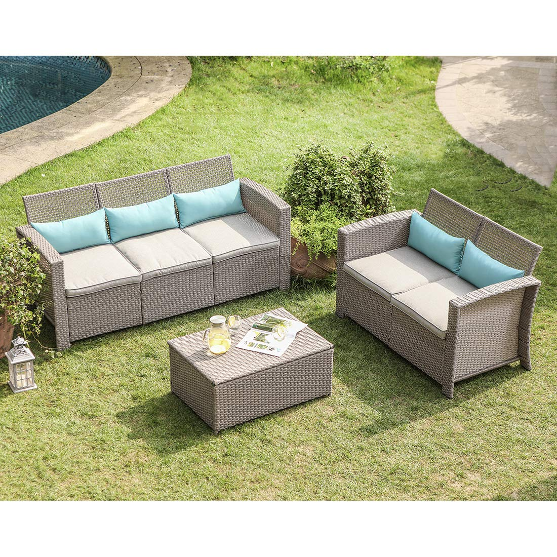 COSIEST 3-Piece Outdoor Furniture Set Taupe Wicker Sectional Sofa w Warm Gray Thick Cushions, Storage Chest and 5 Turquoise Lumbar Pillows for Garden, Pool, Backyard by COSIEST