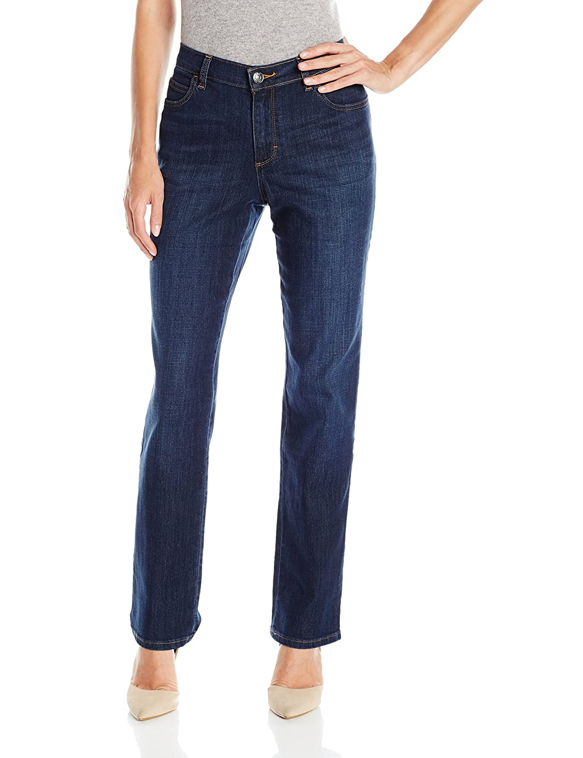 LEE Women's Relaxed Fit Straight Leg Jeans with Stitched Back Pockets