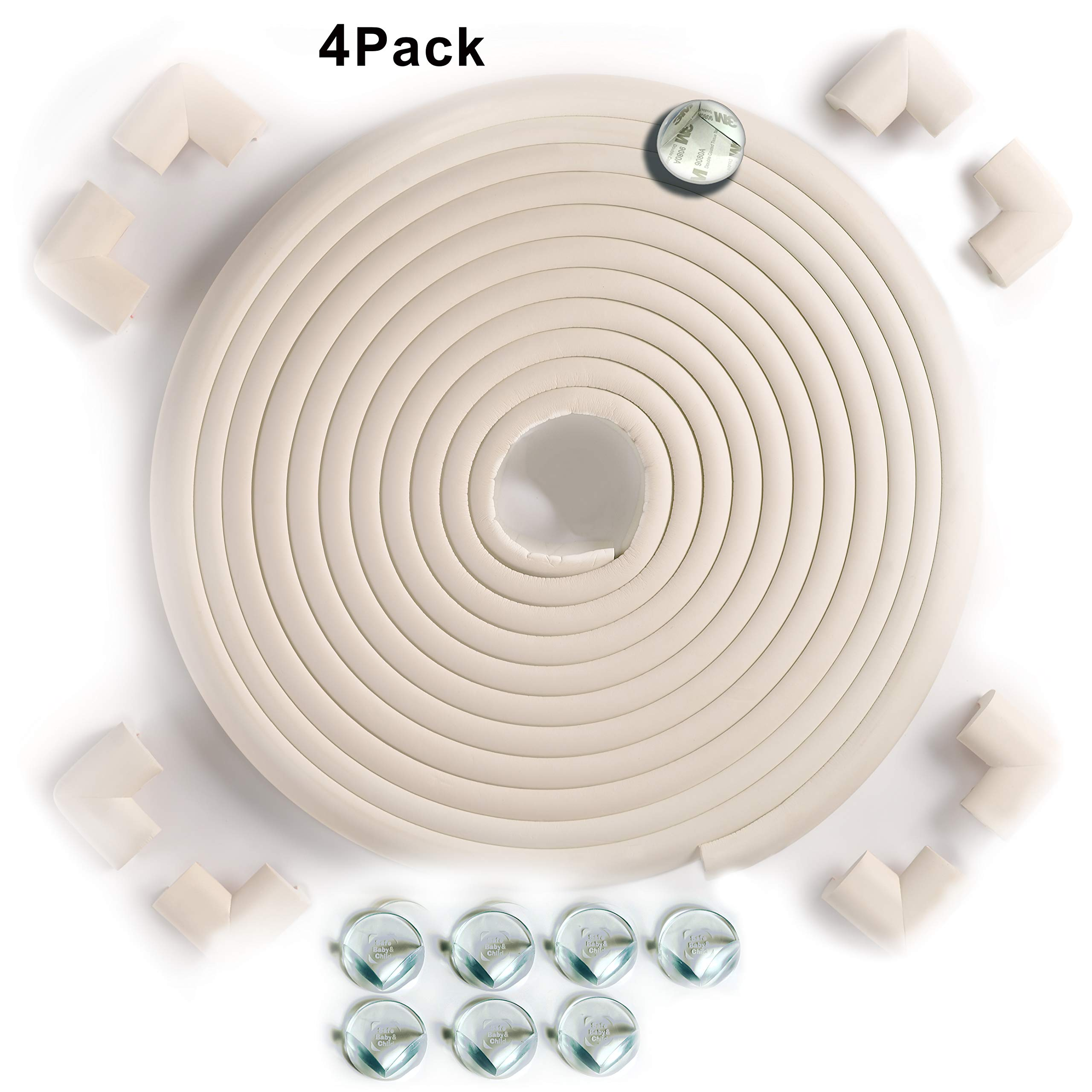 SafeBaby & Child safety 23.2ft Long Set -16 Corner guards baby-proof edge with furniture protective clear bumpers. Toddlers cushion fireplace foam strip pad childproofing hearth protection.Cream White